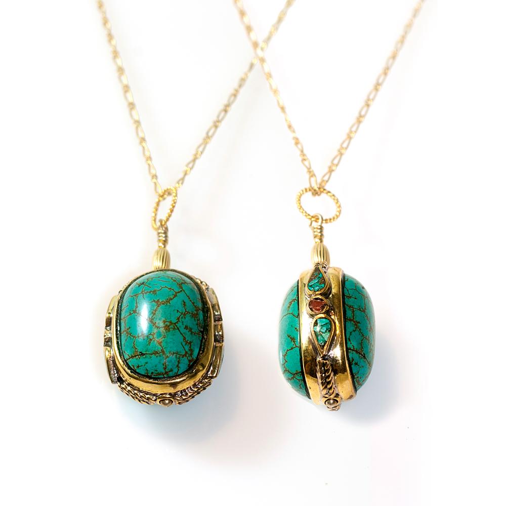 antique turquoise long necklace frelia